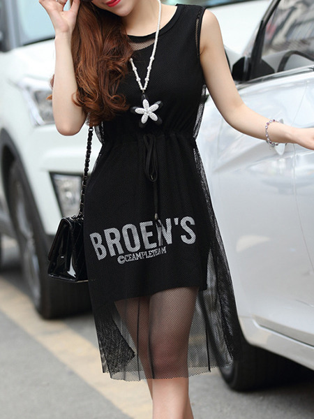 Black Knee Length Bodycon Dress for Casual Party Evening