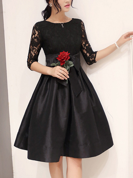 Black Plus Size Knee Length Fit & Flare Lace Dress for Evening Party Cocktail