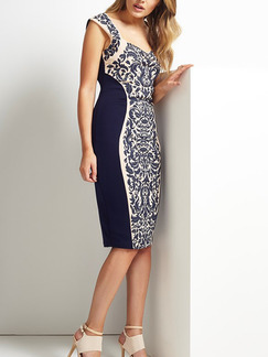 Blue and White Sheath Knee Length Dress for Casual Evening