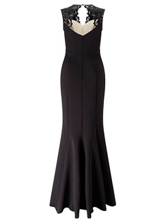 Black Maxi Bodycon Lace V Neck Dress for Prom Evening Cocktail