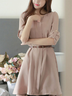 Nude Plus Size Fit & Flare Above Knee Dress for Casual Office