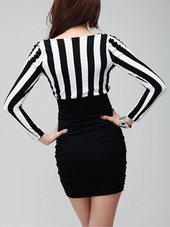 Black and White Plus Size Long Sleeve V Neck Bodycon Dress for Party Evening Cocktail