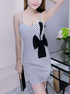 Black and White Polkadot Bodycon Slip Above Knee Dress for Casual Evening Party