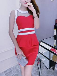Red and White Above Knee Bodycon Dress for Party Evening Cocktail
