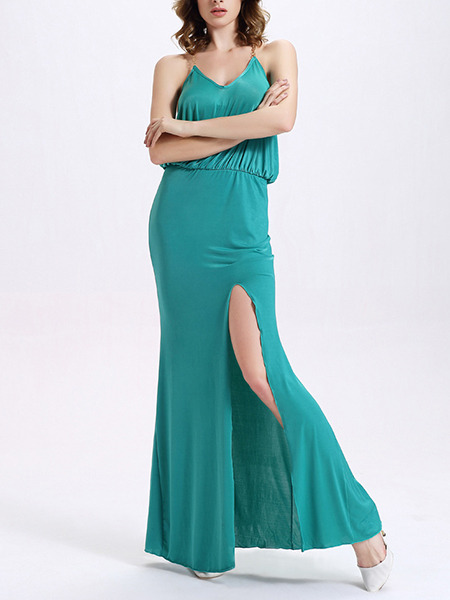 Blue Green Maxi Plus Size V Neck Slip Backless Dress for Cocktail Evening Prom
