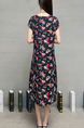 Blue Colorful Plus Size Shift Knee Length Floral Dress for Casual Evening