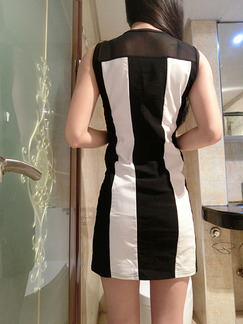 Black and White Bodycon Above Knee Dress for Party Evening Cocktail