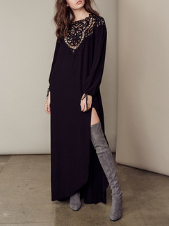 Black Plus Size Backless Maxi Long Sleeve Dress for Evening Party Cocktail
