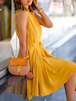 Yellow Above Knee Plus Size Fit & Flare Dress for Casual Evening Party
