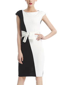 Black and White Plus Size Sheath Knee Length Dress for Casual Office Evening