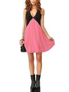 Black and Pink Above Knee Plus Size V Neck Fit & Flare Dress for Casual Party Evening