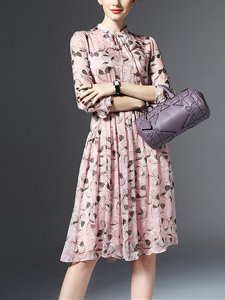 Pink Plus Size Knee Length Fit Amp Flare Dress For Casual