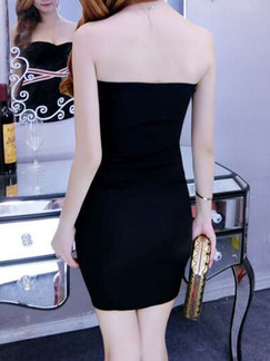 Black Strapless Bodycon Above Knee Dress for Evening Party Cocktail