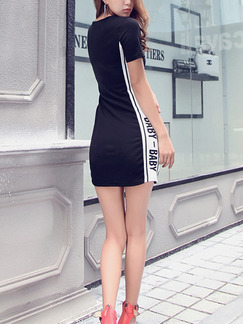 Black and White Above Knee Bodycon Plus Size Dress for Casual Evening Party
