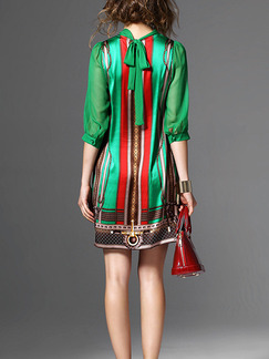Green and Red Shift Above Knee Plus Size Dress for Casual Party Evening