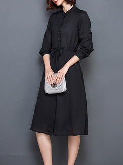 Black Fit & Flare Long Sleeve Knee Length Plus Size Dress for Casual Office