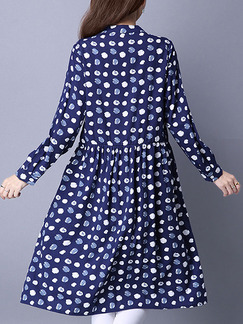 Blue and White Fit & Flare Knee Length Long Sleeve Plus Size Dress for Casual