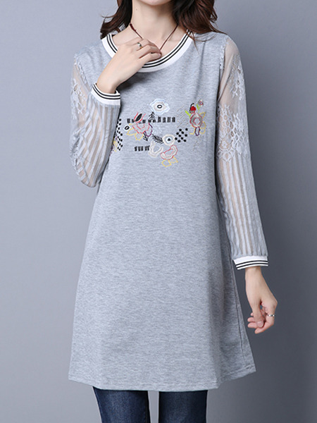 Grey Shift Long Sleeve Above Knee Plus Size Dress for Casual
