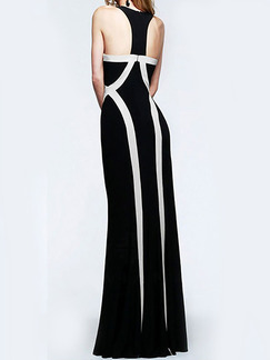 Black and White Halter Bodycon Maxi Plus Size Dress for Cocktail Prom Evening