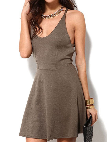 Brown Slip Fit & Flare Backless Above Knee Plus Size Dress for Casual Party Evening