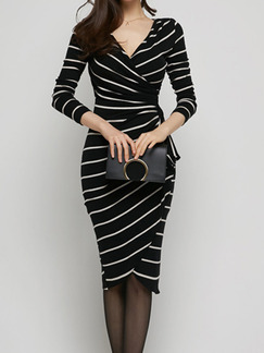 6068a272af1 Black and White Stripe Bodycon V Neck Long Sleeve Knee Length Plus Size  Dress for Casual