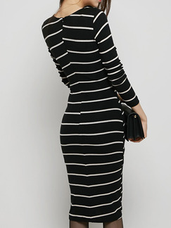 Black and White Stripe Bodycon V Neck Long Sleeve Knee Length Plus Size Dress for Casual Office Evening