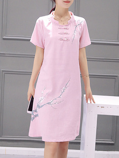 Pink Cute Shift Above Knee Plus Size Dress for Casual Office