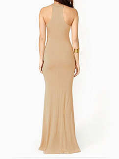 Black and Beige Bodycon Halter Maxi  Dress for Cocktail Prom Evening