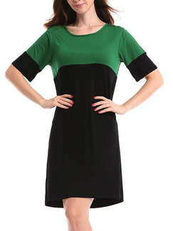 Black and Green Shift Above Knee Plus Size Dress for Casual