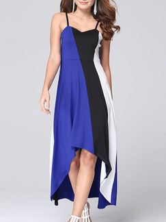 Blue Black and White Slip Fit & Flare Midi Plus Size Dress for Cocktail Party Evening