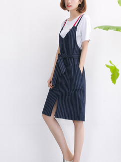 Blue and White Shift Knee Length Plus Size Dress for Casual