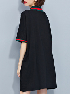 Black Shift V Neck Above Knee Dress for Casual