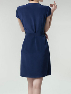Blue Sheath Above Knee Plus Size Dress for Casual Office Evening