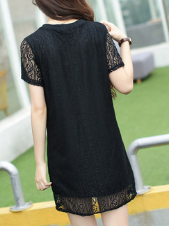 Black Shift Above Knee Lace Plus Size Dress for Casual Party