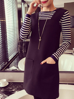 Black and White Stripes Shift Above Knee Long Sleeve Plus Size Dress for Casual Office
