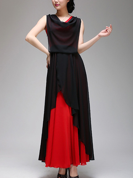 Black and Red Maxi Plus Size Dress for Cocktail Evening Prom