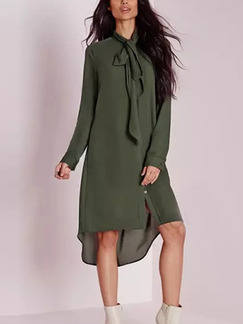 Green Shift Midi Long Sleeve Plus Size Dress for Casual Evening Party