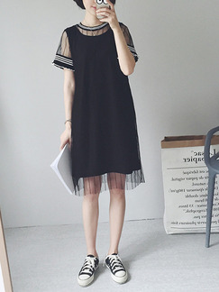 Black Shift Knee Length  Dress for Casual Party