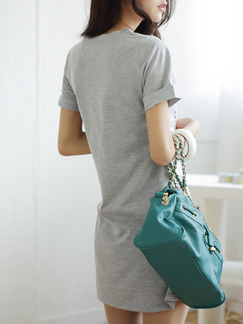 Grey Shift T-Shirt Above Knee Dress for Casual