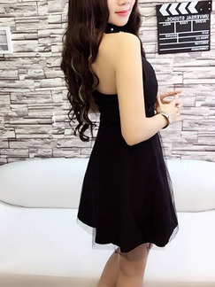 Black Fit & Flare Halter Above Knee Dress for Cocktail Party Evening Prom