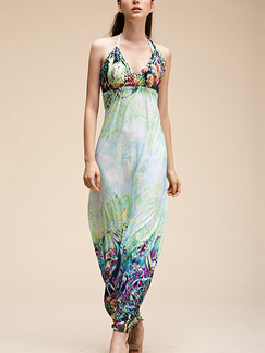 Blue Colorful Slip V Neck Halter Maxi Dress for Casual Beach