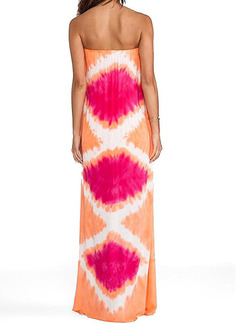 Orange and Pink Shift Strapless Maxi Plus Size Dress for Casual Beach