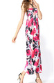 Black and Pink  Shift Halter Maxi Plus Size Floral Dress for Casual Beach