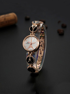 Gold and Black Gold Plated Band Bracelet Quartz Watch