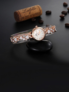 Gold and White Gold Plated Band Bracelet Quartz Watch