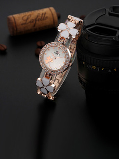 Gold and White Ceramic Band Rhinestone Bracelet Quartz Watch