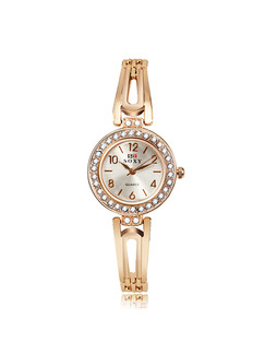 Gold Gold Plated Band Rhinestone Bangle Quartz Watch
