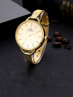 Gold Gold Plated Band Bracelet Quartz Watch