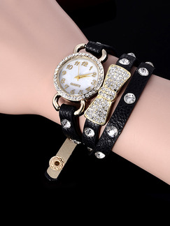 Brown Black Leather Band Rhinestone Bracelet Quartz Watch