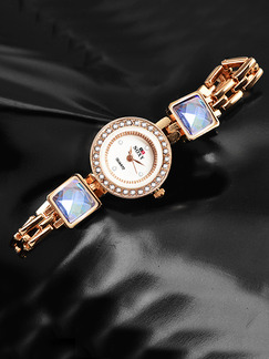 Gold Gold Plated Band Beaded Rhinestone Bracelet Quartz Watch